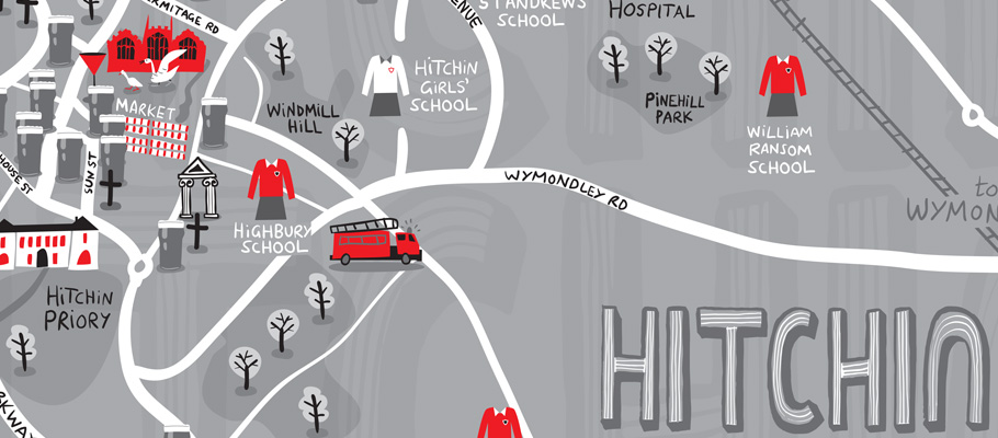 ILLUSTRATED HITCHIN MAP